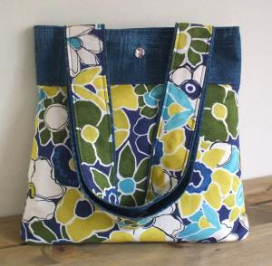 Handmade handbag with matching fabric handles