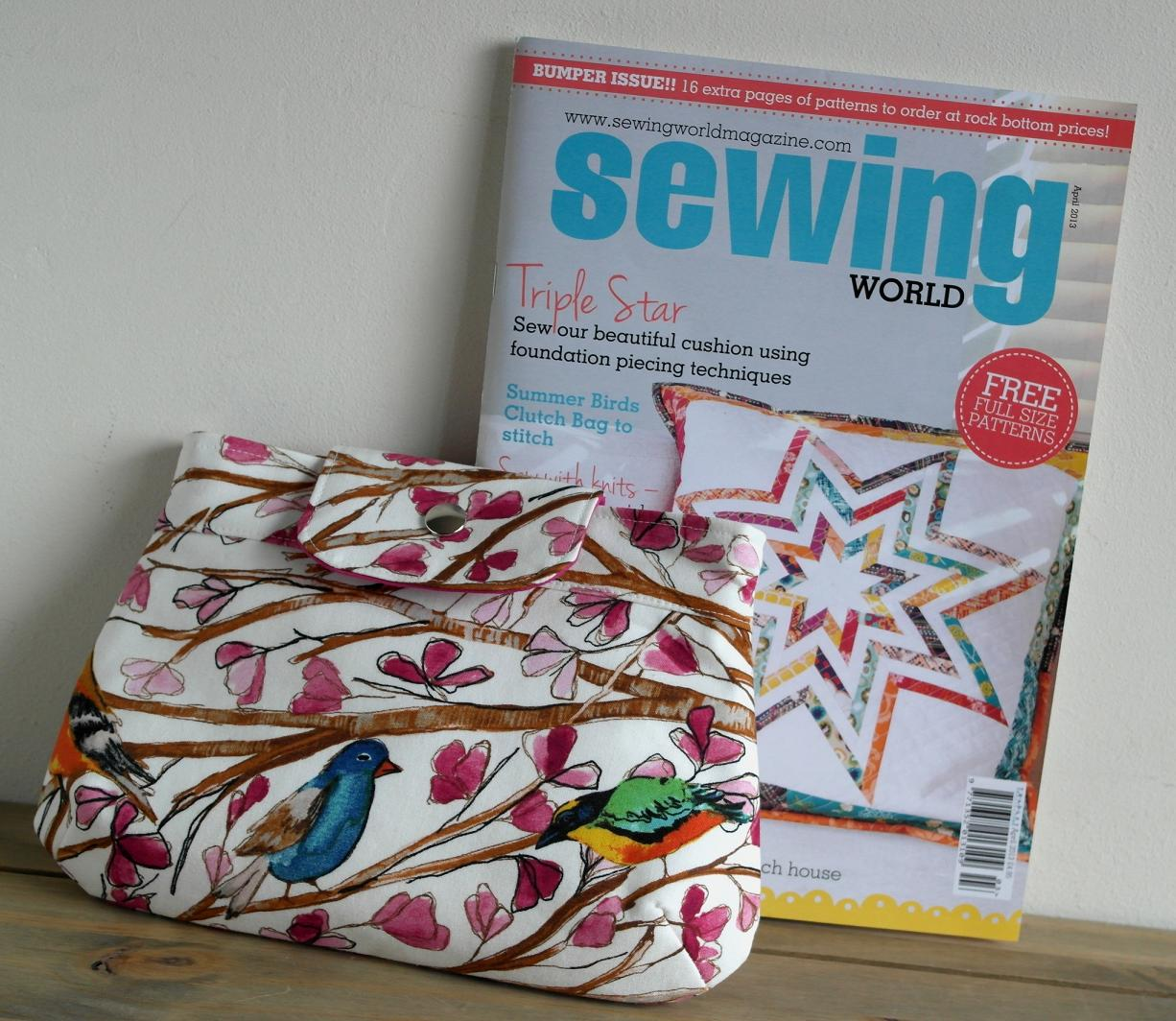 Summer clutch featured in sewing world magazine issue april 13 pretty birds summer clutch sewing project by susan dunlop jeuxipadfo Choice Image