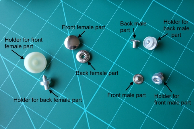 Parts of fastener and attachments for attaching riveted press snaps.