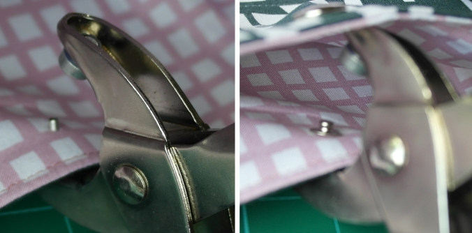 With the back male part on the underside, fit the shaft up through the fabric hole. Place the front male part of snap over the shaft. Press the pliers together firmly (ensuring holder goes over the front snap part) to rivet the parts.