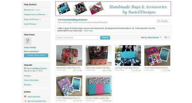 My new Etsy shop selling my handmade bags, purses and accessories.