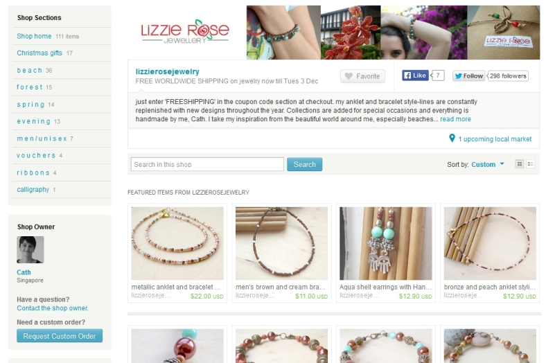 Lizzie Rose Jewelry shop on Etsy