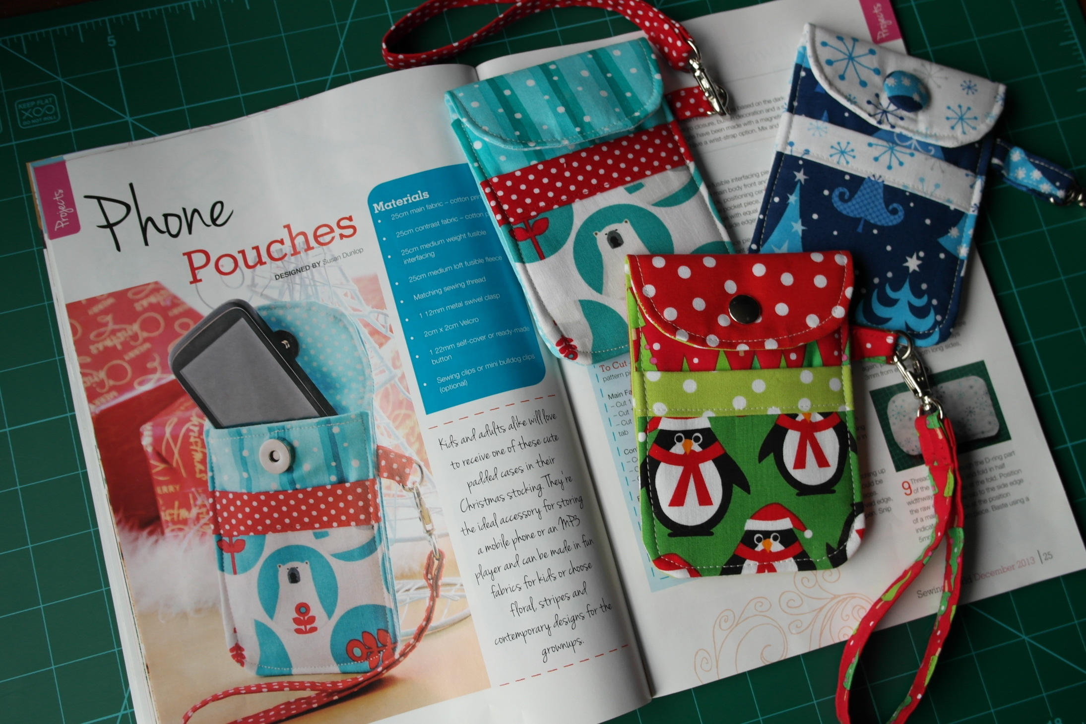 Magazine feature susieddesigns space to sew craft my phone pouches sewing pattern in sewing world magazine december 2013 issue jeuxipadfo Choice Image
