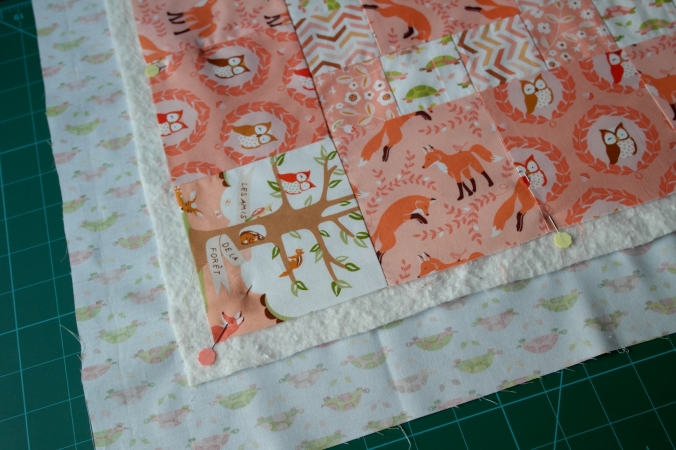 Quilt top with batting and backing fabric