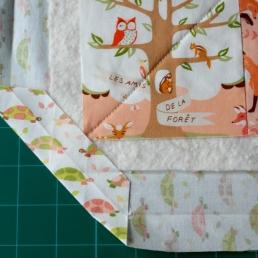 Fold corner to meet quilt top corner