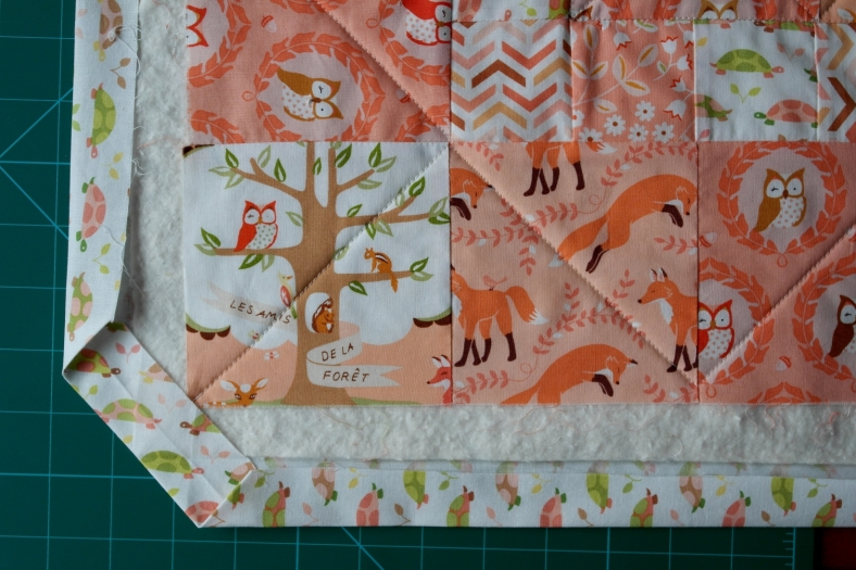 Fold and press backing edges to meet batting edges.