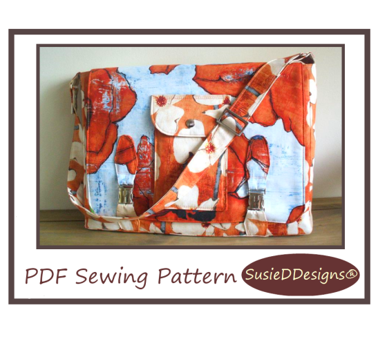 Laptop Messenger Bag PDF Sewing Pattern by Susan Dunlop of SusieDDesigns