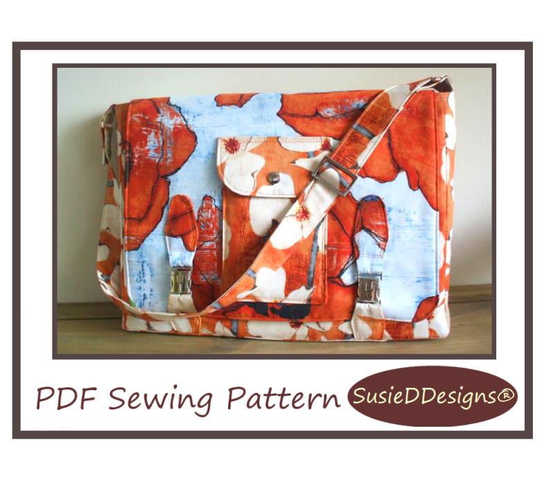 Laptop Messenger Bag PDF Sewing Pattern by Susan Dunlop of SusieDDesigns