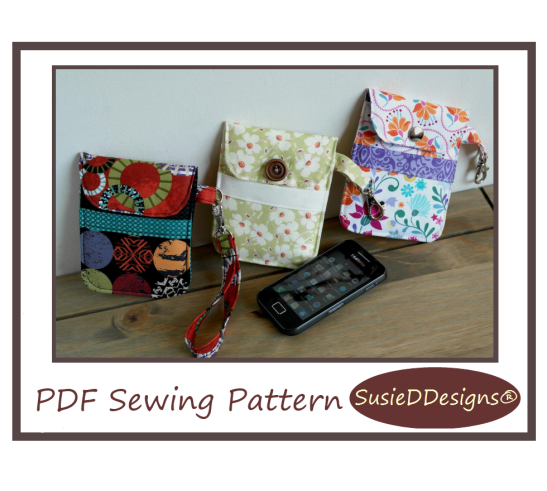 Mobile Phone Pouch PDF Sewing Pattern by Susan Dunlop of SusieDDesigns