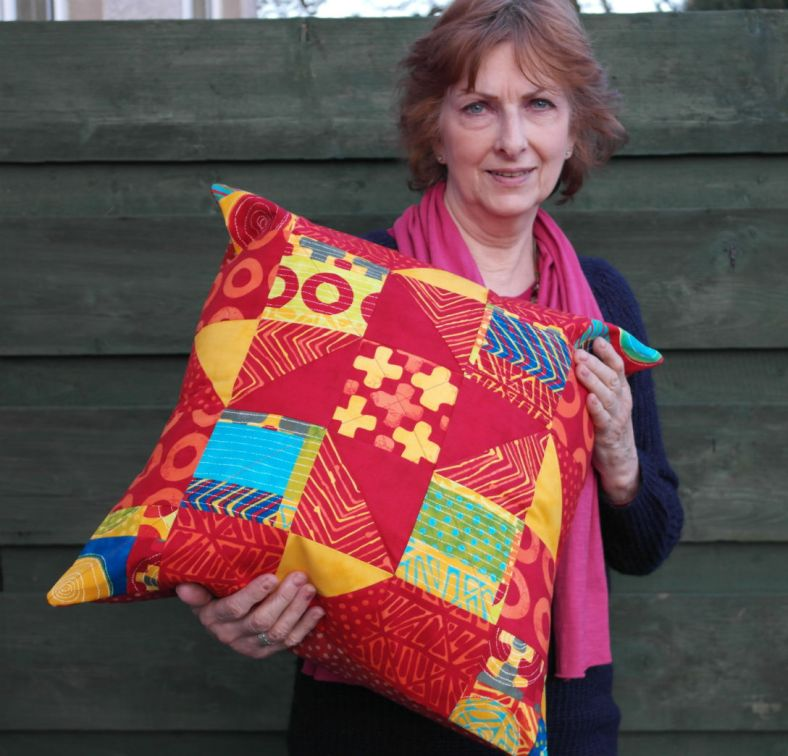 patchwork quilted cushion