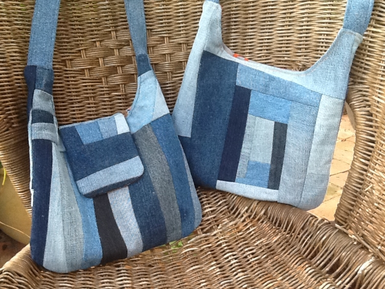 Beth and friends used donated denim jeans to make these fantastic bags, using the Emma Handbag sewing pattern.
