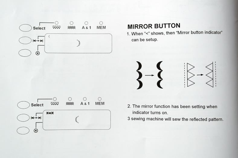 mirror button on QE404