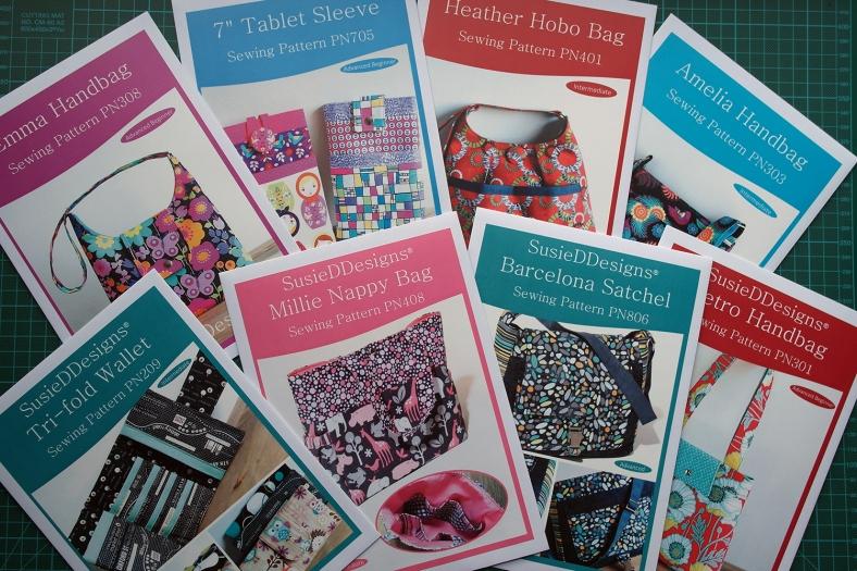Printed Sewing Patterns for bag-making by Susan Dunlop of SusieDDesigns