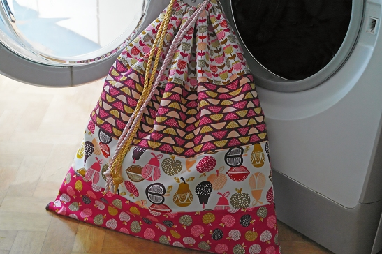 Retro Orchard Laundry Bag by Susan Dunlop of SusieDDesigns