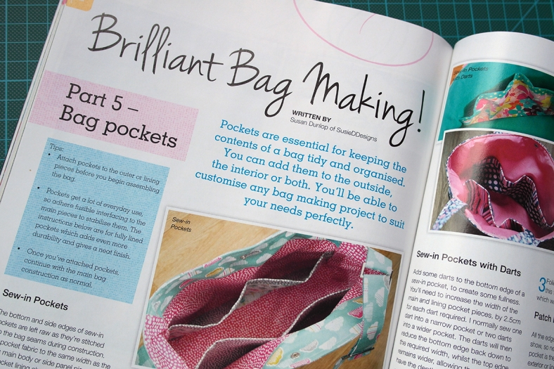 Bag making series in Sewing World magazine July 2014