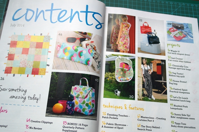 Sewing World magazine July 2014 contents