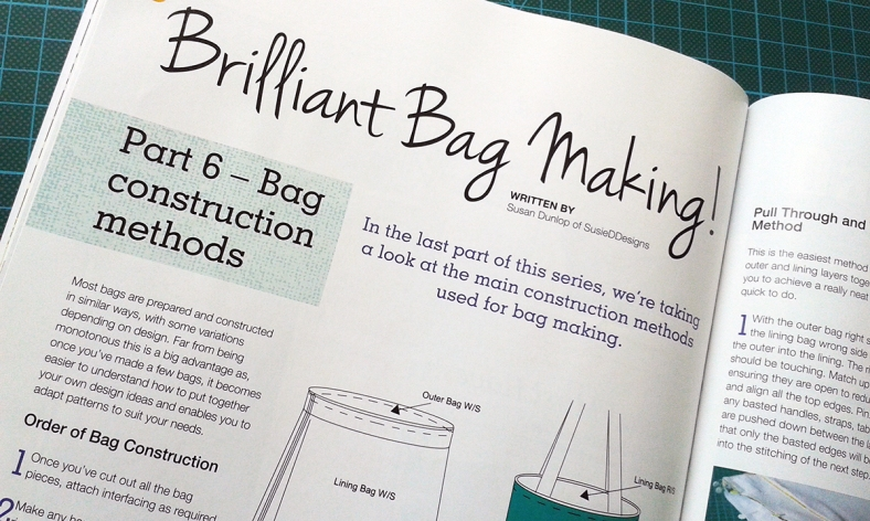 Briliant Bagmaking in Sewing World magazine by Susan Dunlop