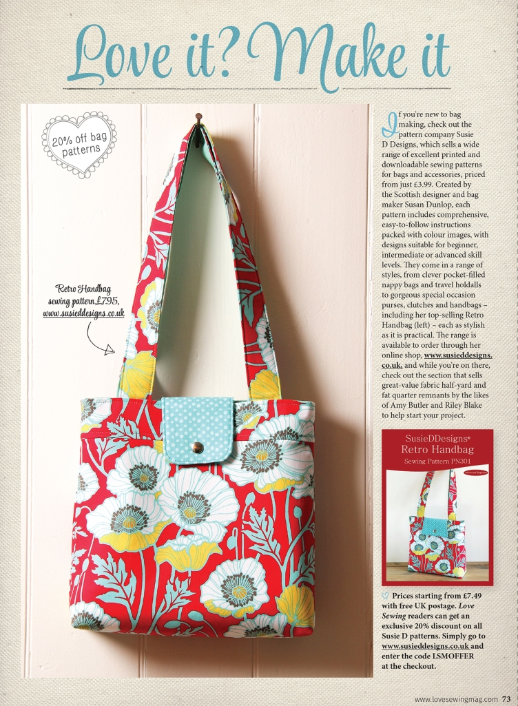 SusieDDesigns Printed Patterns feature in Love Sewing Magazine