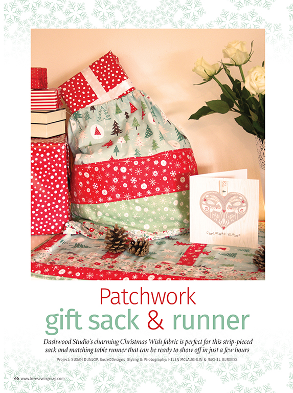 Christmas wish table topper & sack by Susan Dunlop for Love Sewing magazine